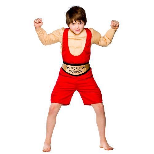 Boys Champion Wrestler Costume for Sport Fancy Dress Childrens Kids Childs